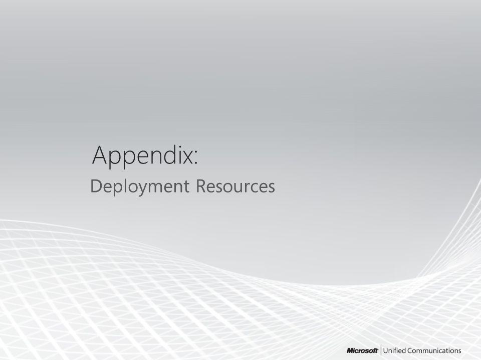 Appendix: Deployment Resources