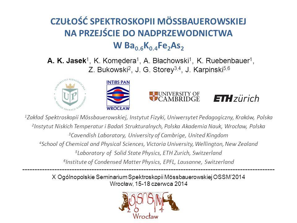 CZUŁOŚĆ SPEKTROSKOPII MÖSSBAUEROWSKIEJ NA PRZEJŚCIE DO NADPRZEWODNICTWA W Ba 0.6 K 0.4 Fe 2 As 2 1 Zakład Spektroskopii Mössbauerowskiej, Instytut Fiz