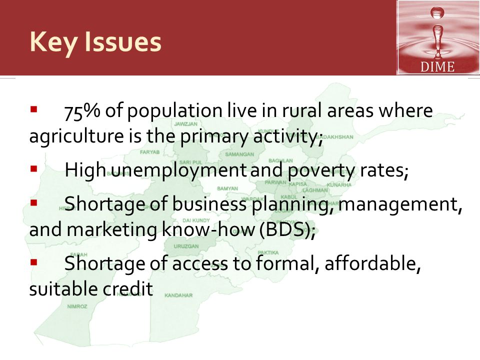 Key Issues  75% of population live in rural areas where agriculture is the primary activity;  High unemployment and poverty rates;  Shortage of bus