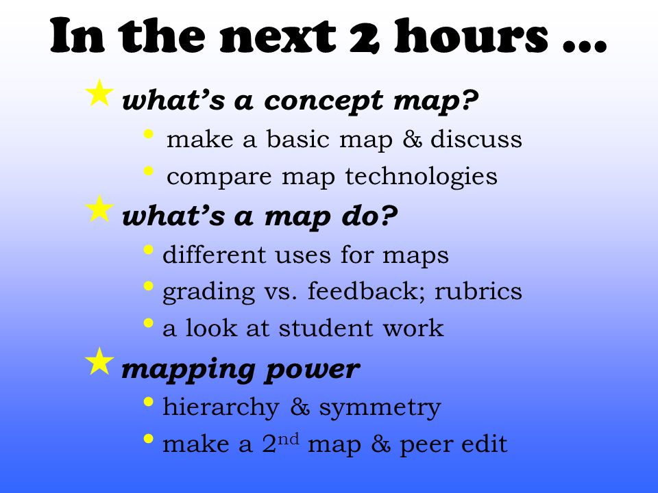 In the next 2 hours...  what's a concept map.