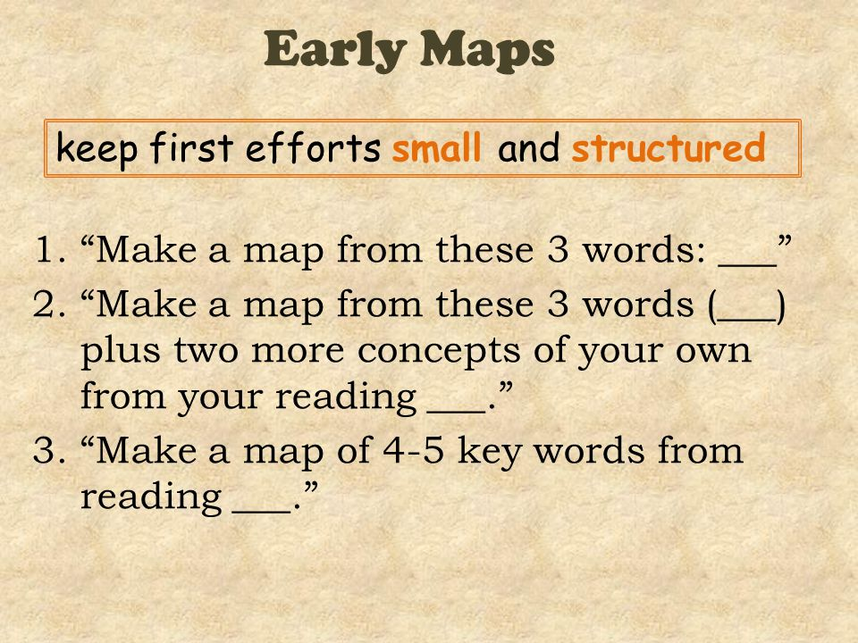 Early Maps 1. Make a map from these 3 words: ___ 2. Make a map from these 3 words (___) plus two more concepts of your own from your reading ___. 3. Make a map of 4-5 key words from reading ___. keep first efforts small and structured