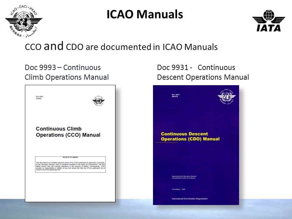 ICAO Manuals CCO and CDO are documented in ICAO Manuals Doc 9931 - Continuous Descent Operations Manual Doc 9993 – Continuous Climb Operations Manual