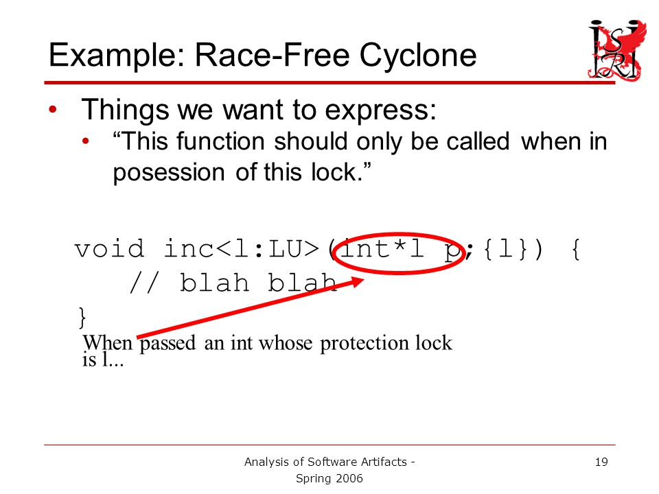Analysis of Software Artifacts - Spring 2006 20 Example: Race-Free Cyclone Things we want to express: This function should only be called when in posession of this lock. void inc (int*l p;{l}) { // blah blah } The caller must already possess lock l...