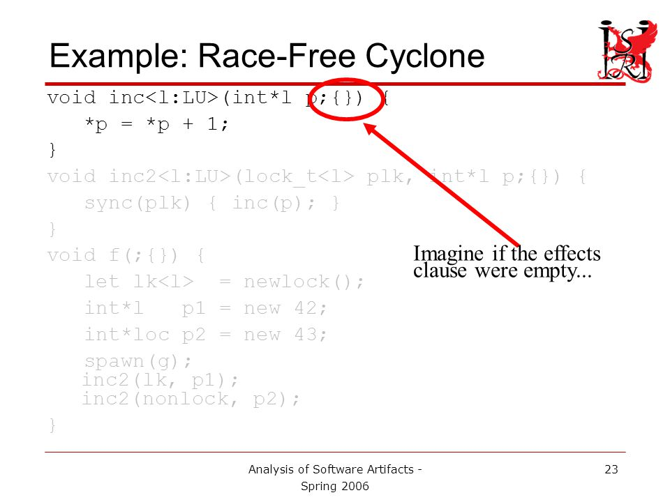 Analysis of Software Artifacts - Spring 2006 24 Example: Race-Free Cyclone void inc (int*l p;{}) { *p = *p + 1; } void inc2 (lock_t plk, int*l p;{}) { sync(plk) { inc(p); } } void f(;{}) { let lk = newlock(); int*l p1 = new 42; int*loc p2 = new 43; spawn(g); inc2(lk, p1); inc2(nonlock, p2); } A dereference would also signal a compiler error, since it is unprotected.