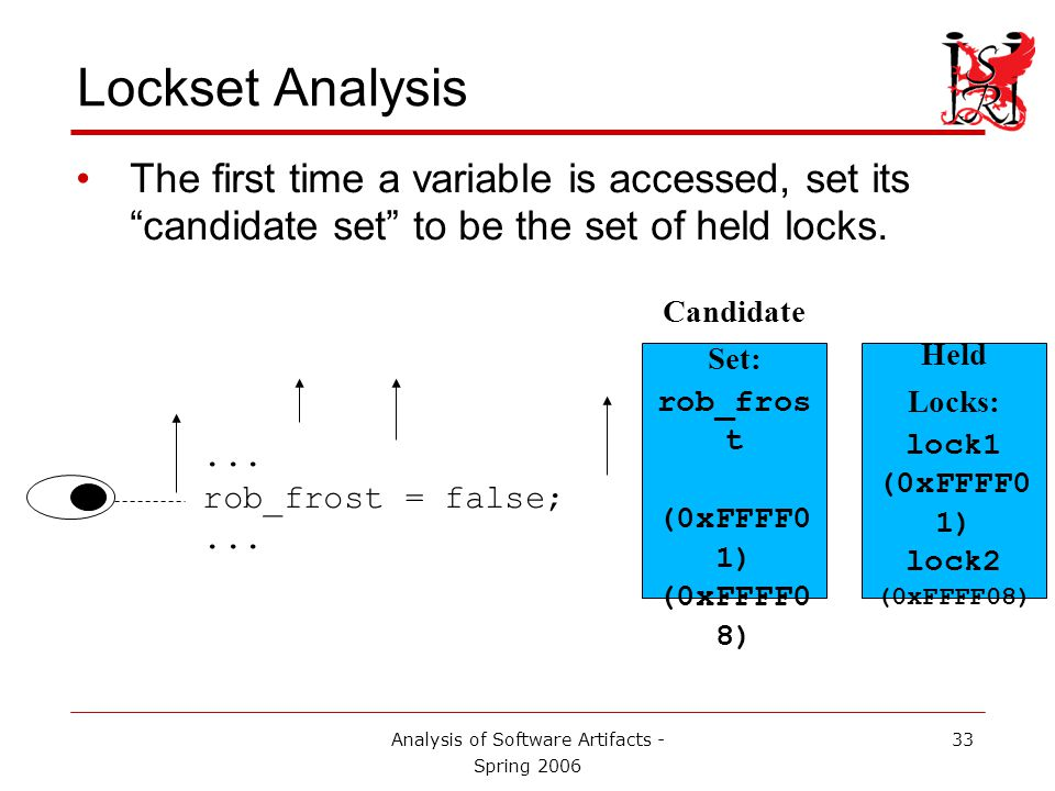Analysis of Software Artifacts - Spring 2006 34 Lockset Analysis The next time that variable is accessed, take the intersection of the candidate set and the set of currently held locks…...