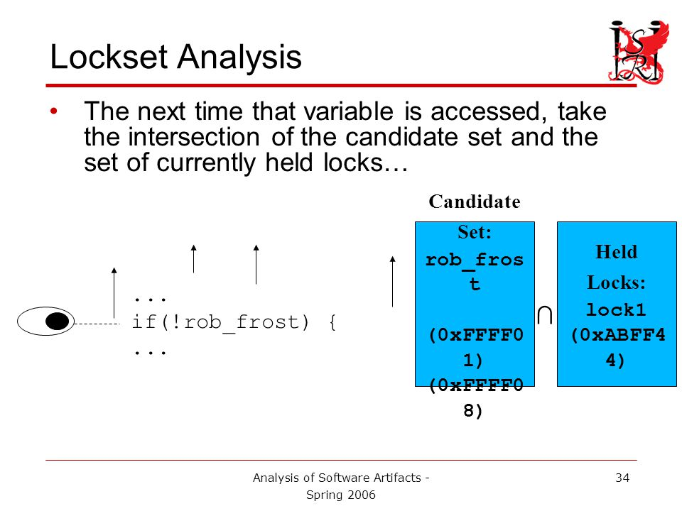 Analysis of Software Artifacts - Spring 2006 35 Lockset Analysis If the intersection is empty, flag a potential race condition!...