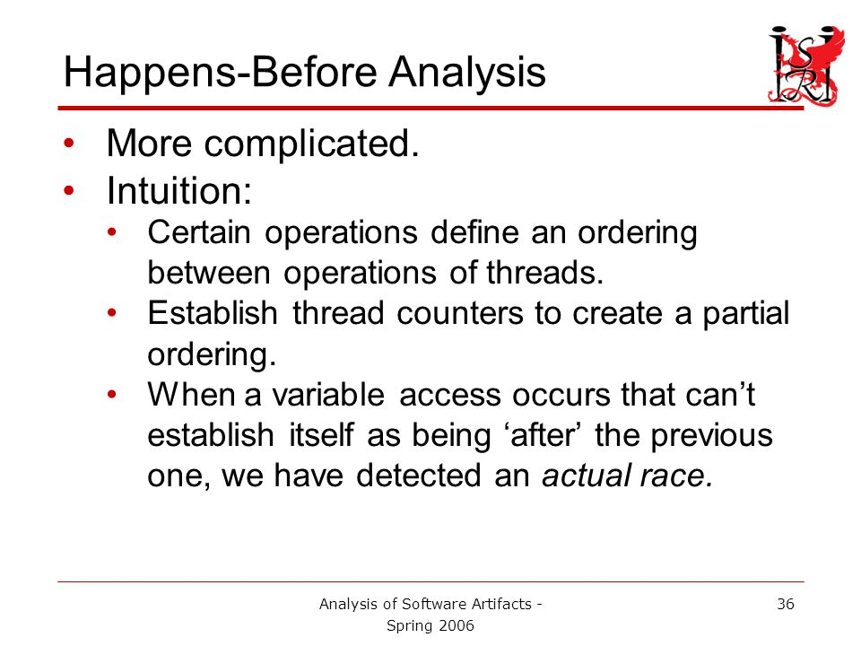 Analysis of Software Artifacts - Spring 2006 37 Happens-Before on our Example t u t:Fork(u) t:Lock(a) t:Write(x) t:Unlock(a) u:Lock(a) u:Write(x) u:Unlock(a) t:Join(u) t:Write(x) t:Fork(v) 1 2 1