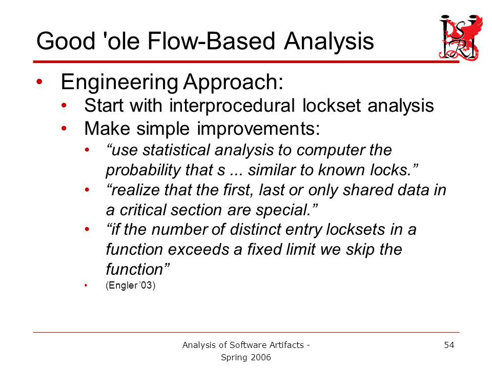 Analysis of Software Artifacts - Spring 2006 55 Many Benefits Ease of Use.