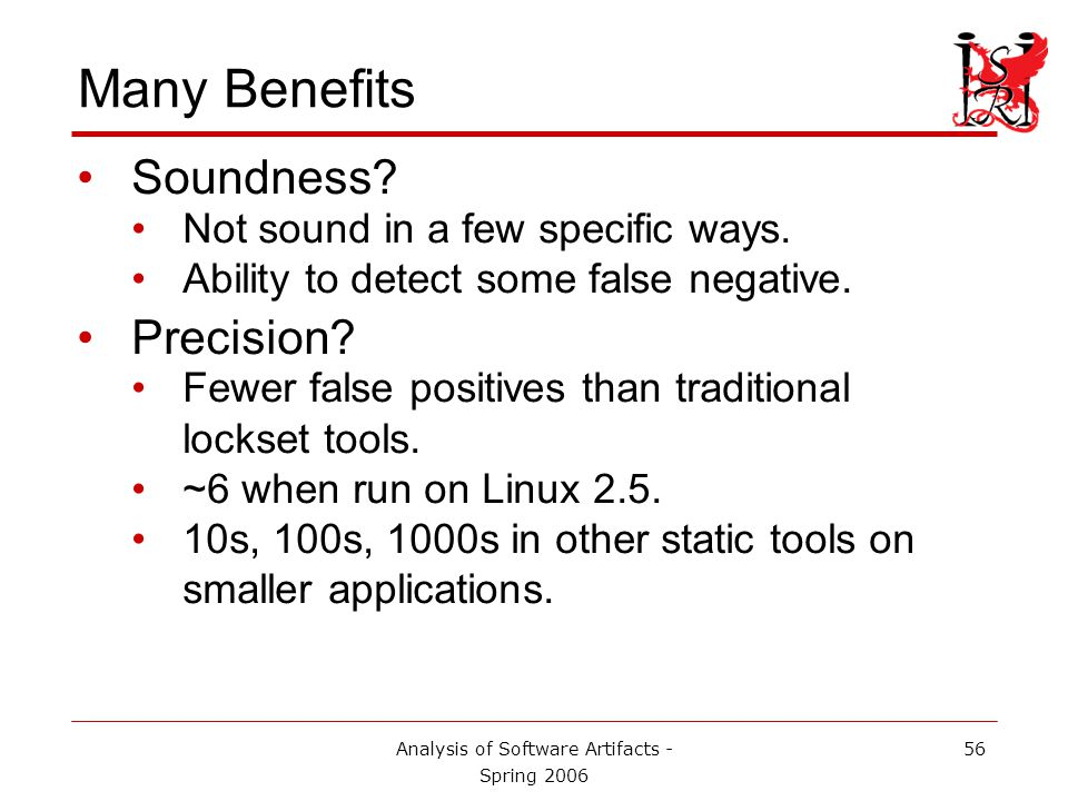 Analysis of Software Artifacts - Spring 2006 56 Many Benefits Soundness.