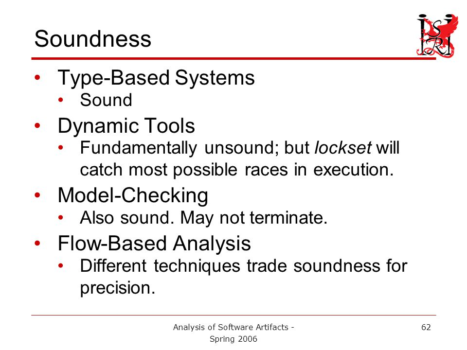 Analysis of Software Artifacts - Spring 2006 62 Soundness Type-Based Systems Sound Dynamic Tools Fundamentally unsound; but lockset will catch most possible races in execution.