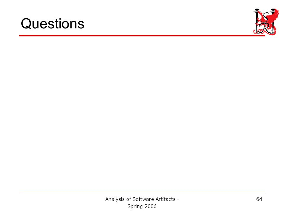 Analysis of Software Artifacts - Spring 2006 64 Questions