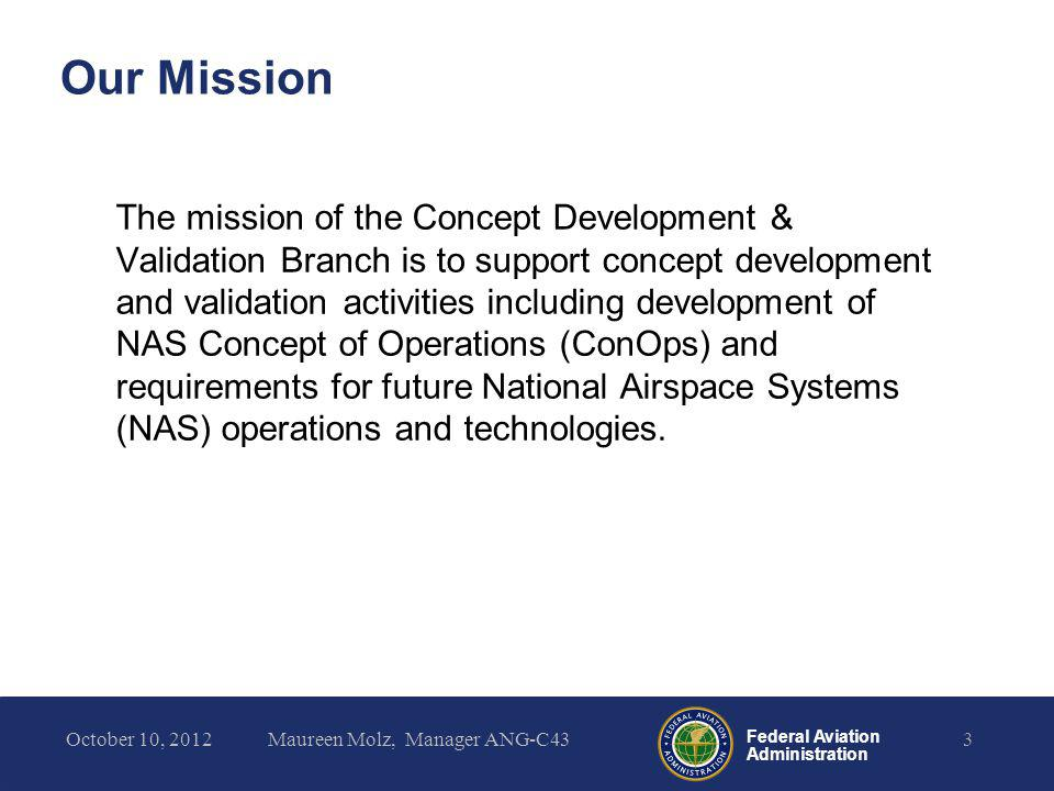 Federal Aviation Administration NAS Midterm ConOps Development Based on –Operational Sustainments –NextGen Midterm ConOps –Concept Gaps Intended to –Serve as baseline for new concepts/ideas entering i2i process –Provide foundation for developing operational requirements –Generate discussion with stakeholders –Identify areas for concept development and validation 4October 10, 2012Maureen Molz, Manager ANG-C43