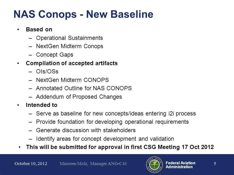 Federal Aviation Administration Library of Concepts by Level Level 2 (4 documents) –Management and Distribution of Flight Data –Surveillance Broadcast Services –Integrated Arrival, Departure, and Surface Operations –UAS Integration into the NAS ConOps October 10, 2012Maureen Molz, Manager ANG-C436