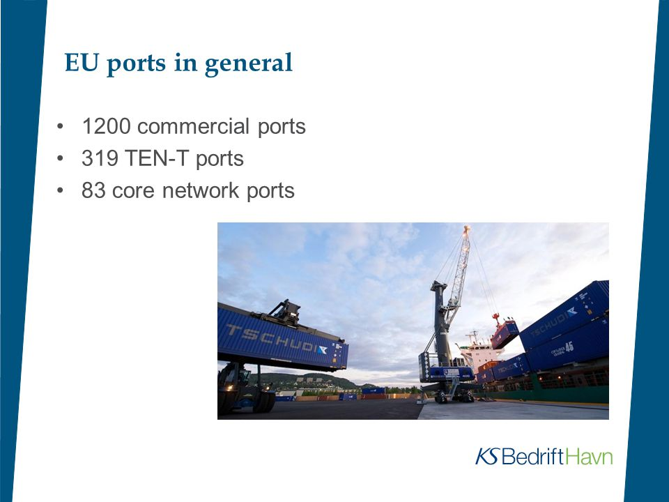 EU ports in general 1200 commercial ports 319 TEN-T ports 83 core network ports