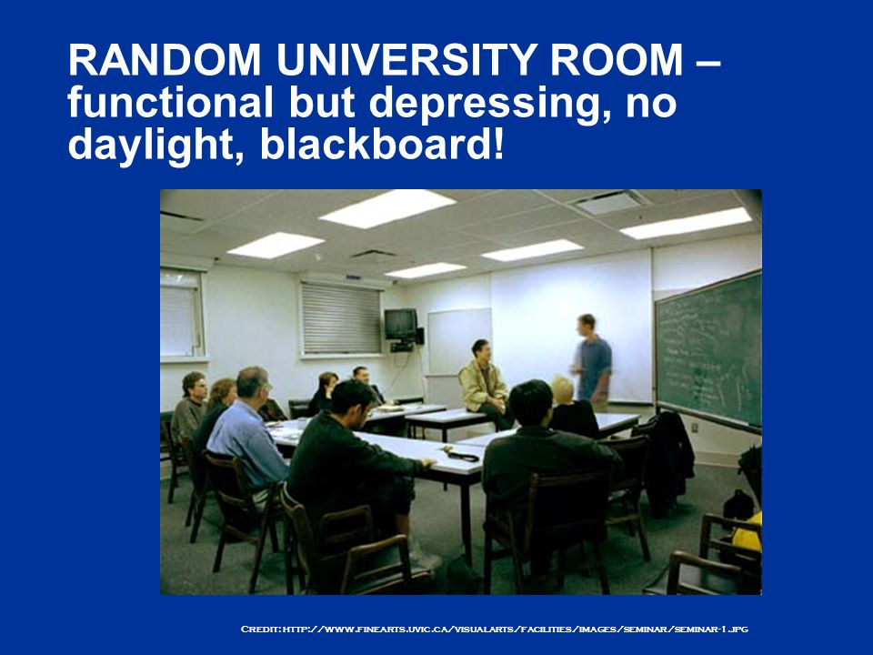 Credit: http://www.finearts.uvic.ca/visualarts/facilities/images/seminar/seminar-1.jpg RANDOM UNIVERSITY ROOM – functional but depressing, no daylight, blackboard!