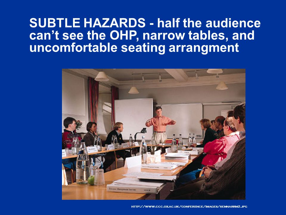 http://www.ccc.ox.ac.uk/conference/images/semnarrm2.jpg SUBTLE HAZARDS - half the audience can't see the OHP, narrow tables, and uncomfortable seating arrangment