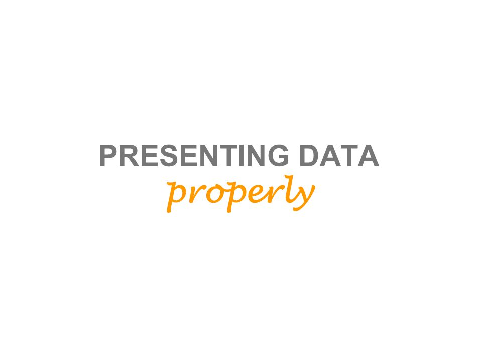 PRESENTING DATA properly