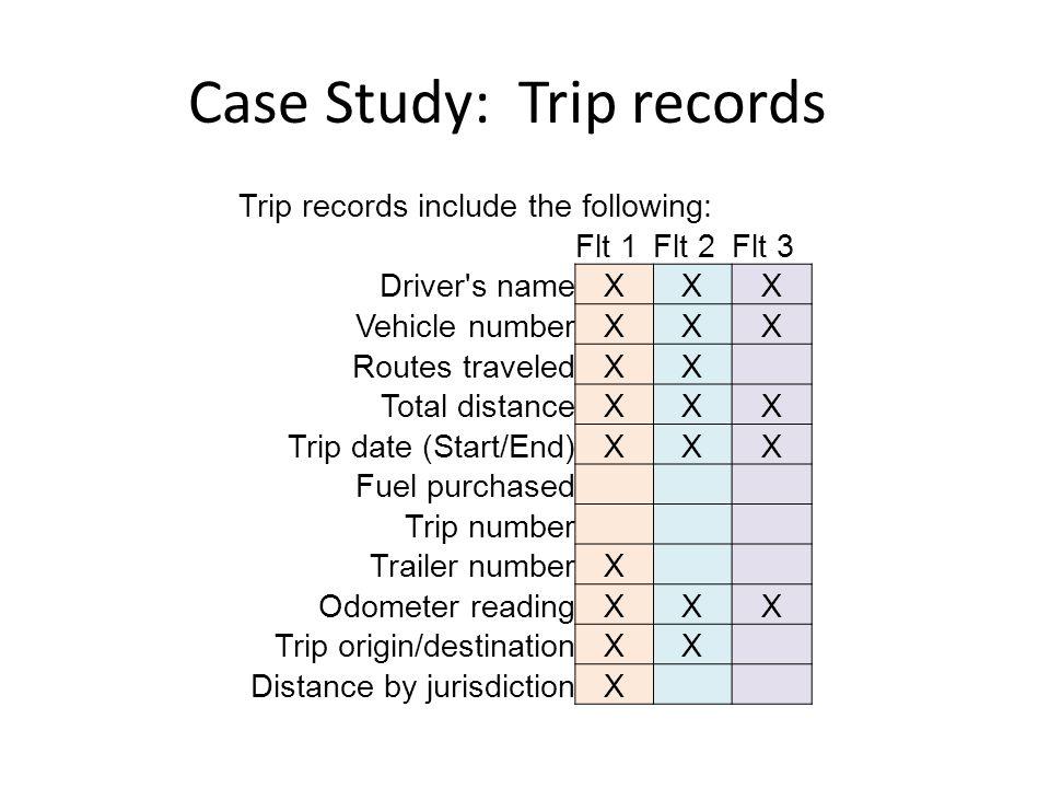 Case Study: Trip records Trip records include the following: Flt 1Flt 2Flt 3 Driver s nameXXX Vehicle numberXXX Routes traveledXX Total distanceXXX Trip date (Start/End)XXX Fuel purchased Trip number Trailer numberX Odometer readingXXX Trip origin/destinationXX Distance by jurisdictionX