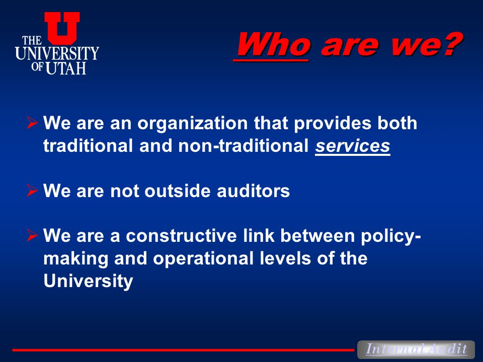 Internal Audit Who are we.
