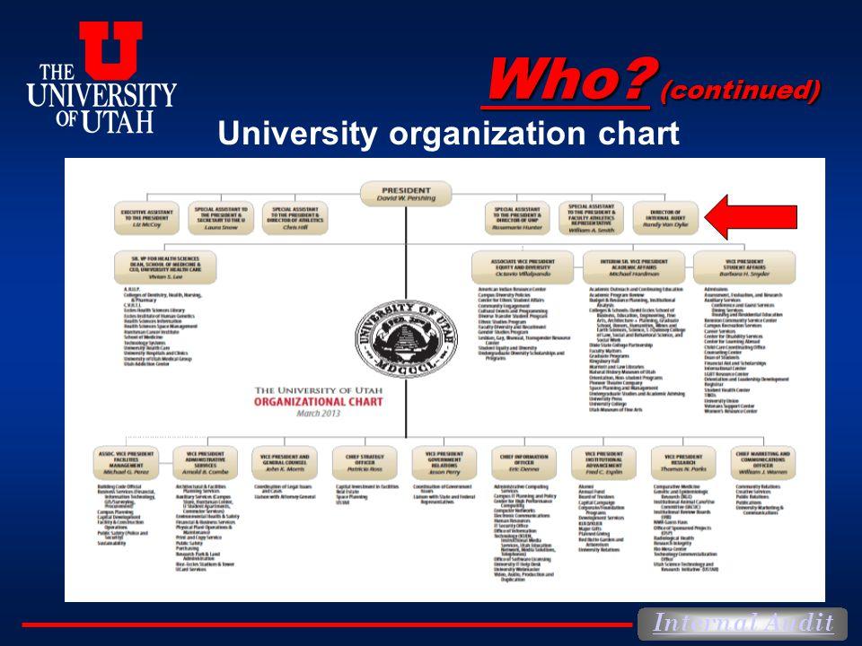 Internal Audit University organization chart Who? (continued)
