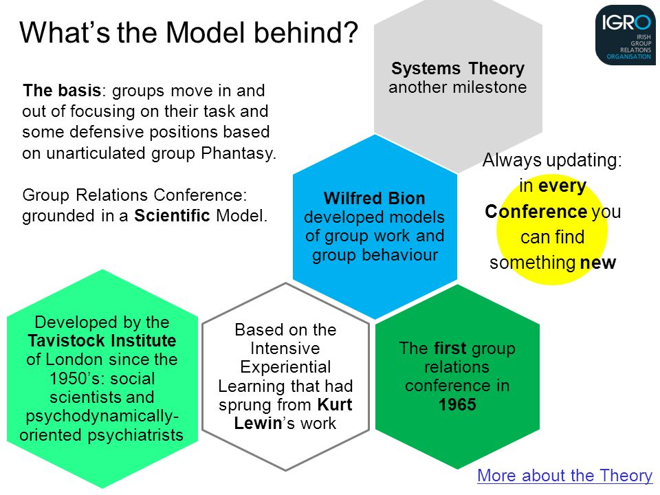 Based on the Intensive Experiential Learning that had sprung from Kurt Lewin's work Wilfred Bion developed models of group work and group behaviour Systems Theory another milestone The first group relations conference in 1965 Developed by the Tavistock Institute of London since the 1950's: social scientists and psychodynamically- oriented psychiatrists More about the Theory The basis: groups move in and out of focusing on their task and some defensive positions based on unarticulated group Phantasy.