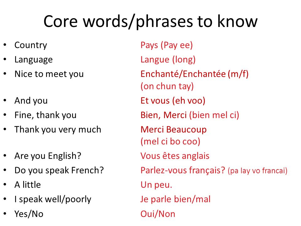Core words/phrases to know Country Pays (Pay ee) LanguageLangue (long) Nice to meet you Enchanté/Enchantée (m/f) (on chun tay) And youEt vous (eh voo)