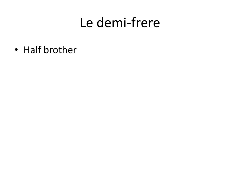 Le demi-frere Half brother