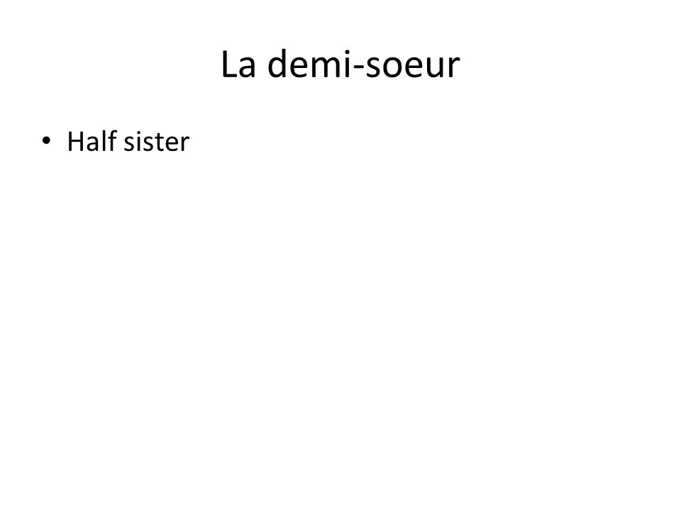 La demi-soeur Half sister