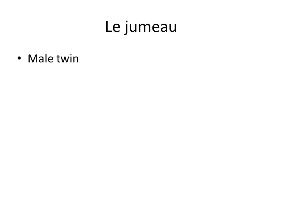 Le jumeau Male twin