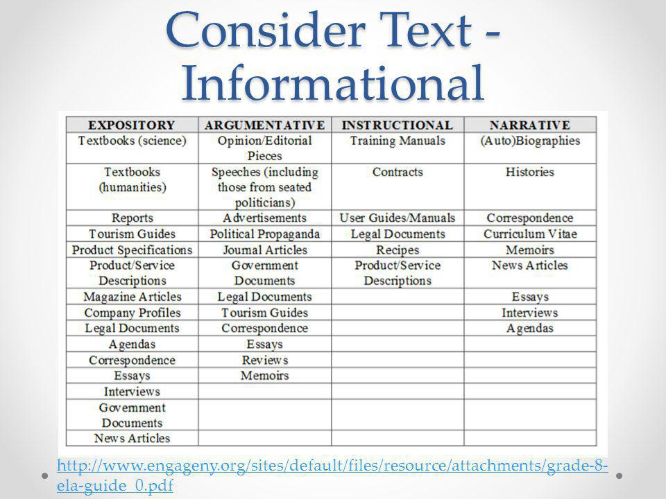 Consider Text - Informational http://www.engageny.org/sites/default/files/resource/attachments/grade-8- ela-guide_0.pdf