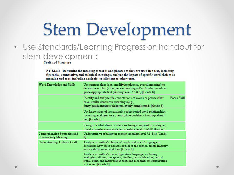 Stem Development Use Standards/Learning Progression handout for stem development: