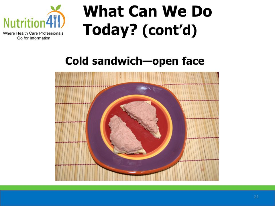21 Cold sandwich—open face What Can We Do Today (cont'd)