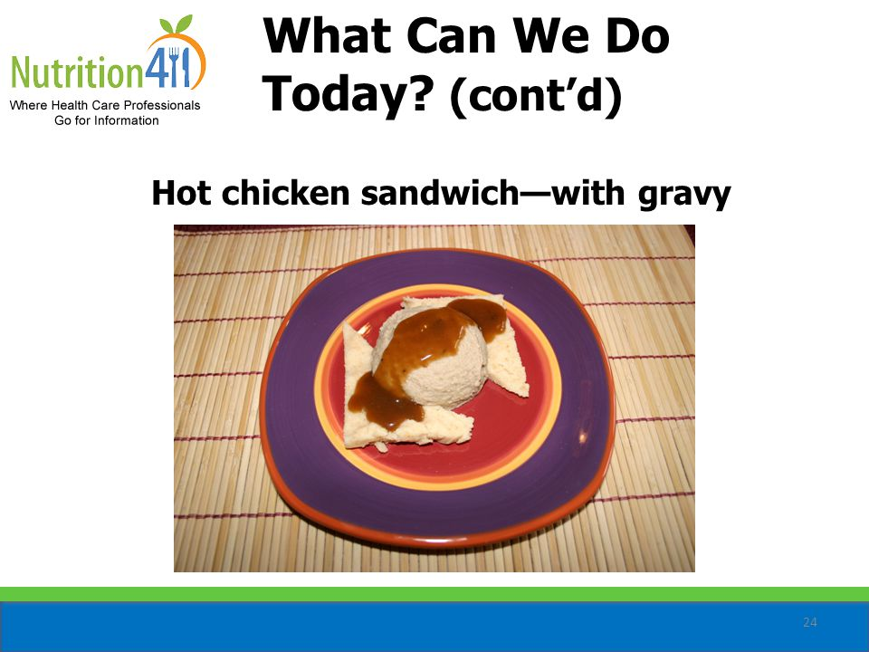 24 Hot chicken sandwich—with gravy What Can We Do Today (cont'd)