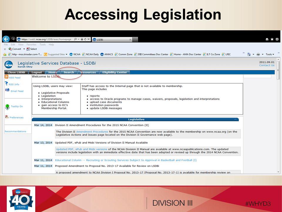 Accessing Legislation