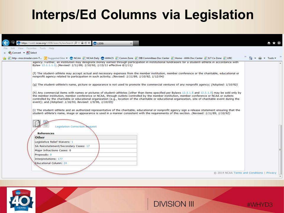Interps/Ed Columns via Legislation