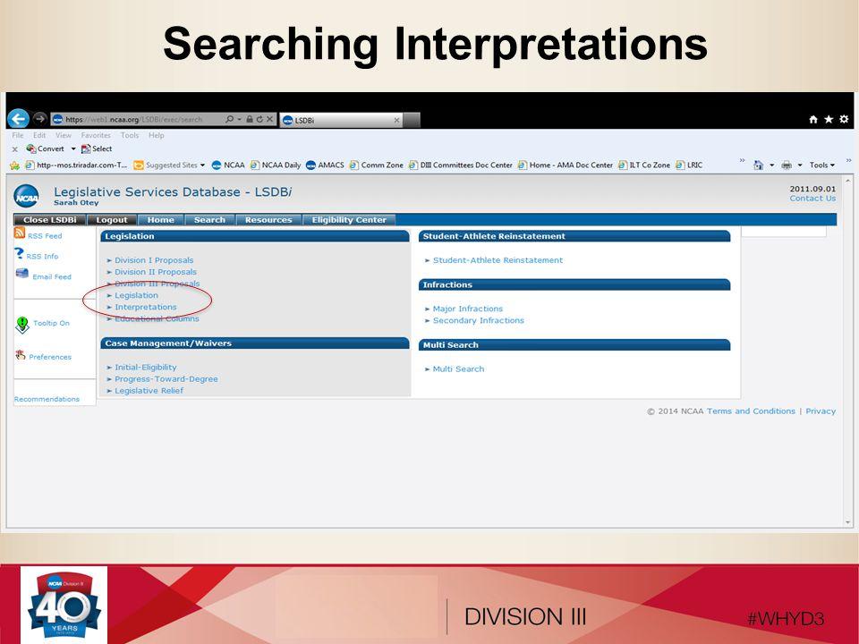 Searching Interpretations