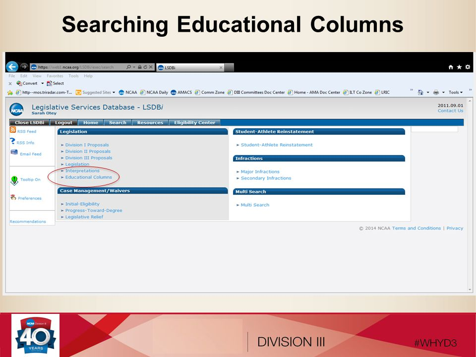 Searching Educational Columns