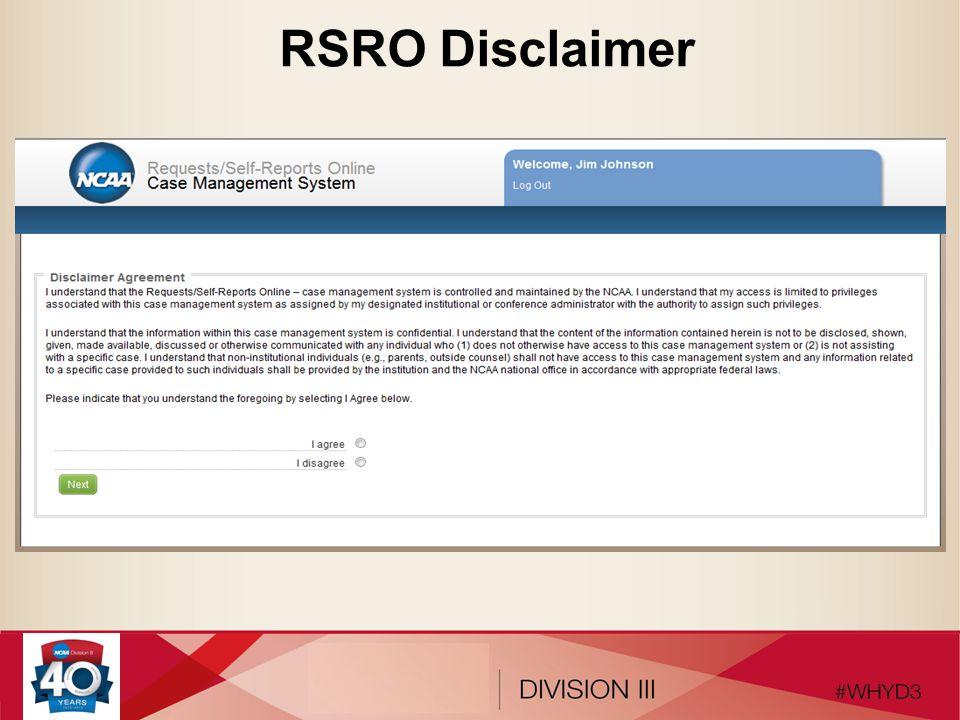 RSRO Disclaimer