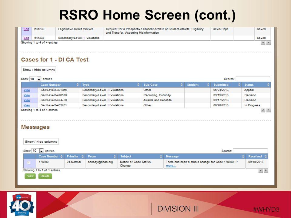 RSRO Home Screen (cont.)