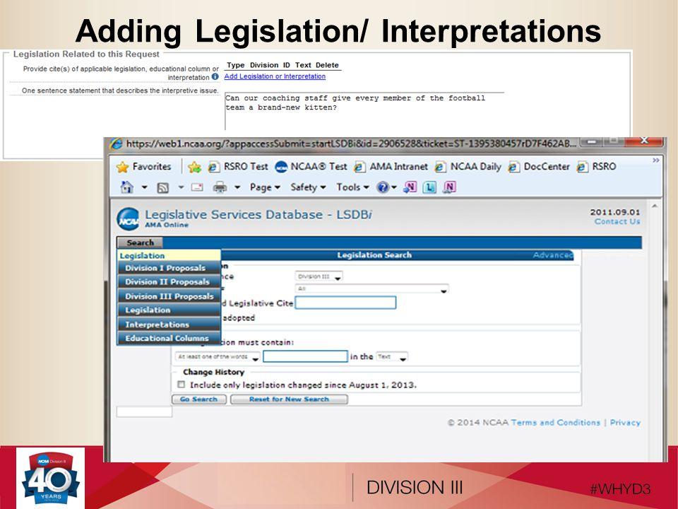 Adding Legislation/ Interpretations