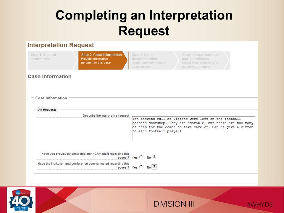 Completing an Interpretation Request