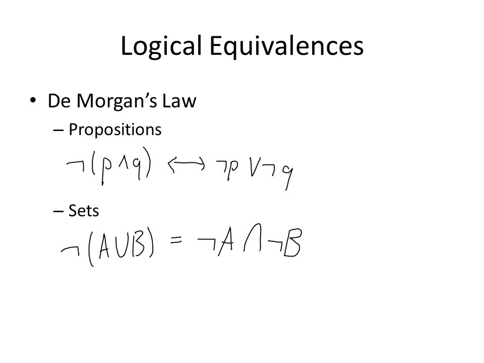 Logical Equivalences De Morgan's Law – Propositions – Sets