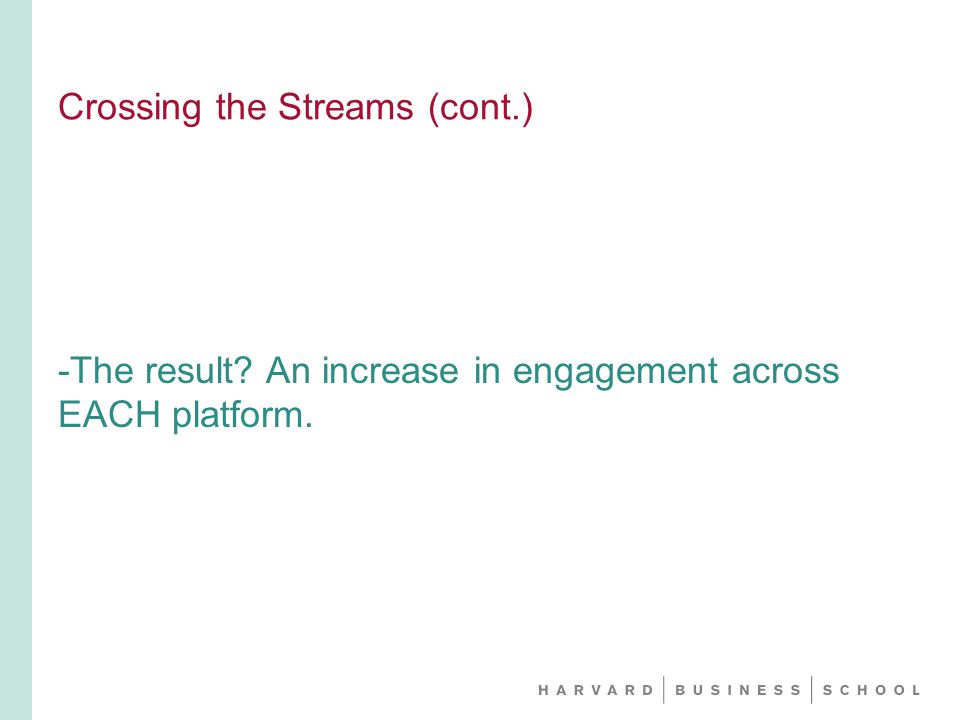 Crossing the Streams (cont.) -The result An increase in engagement across EACH platform.