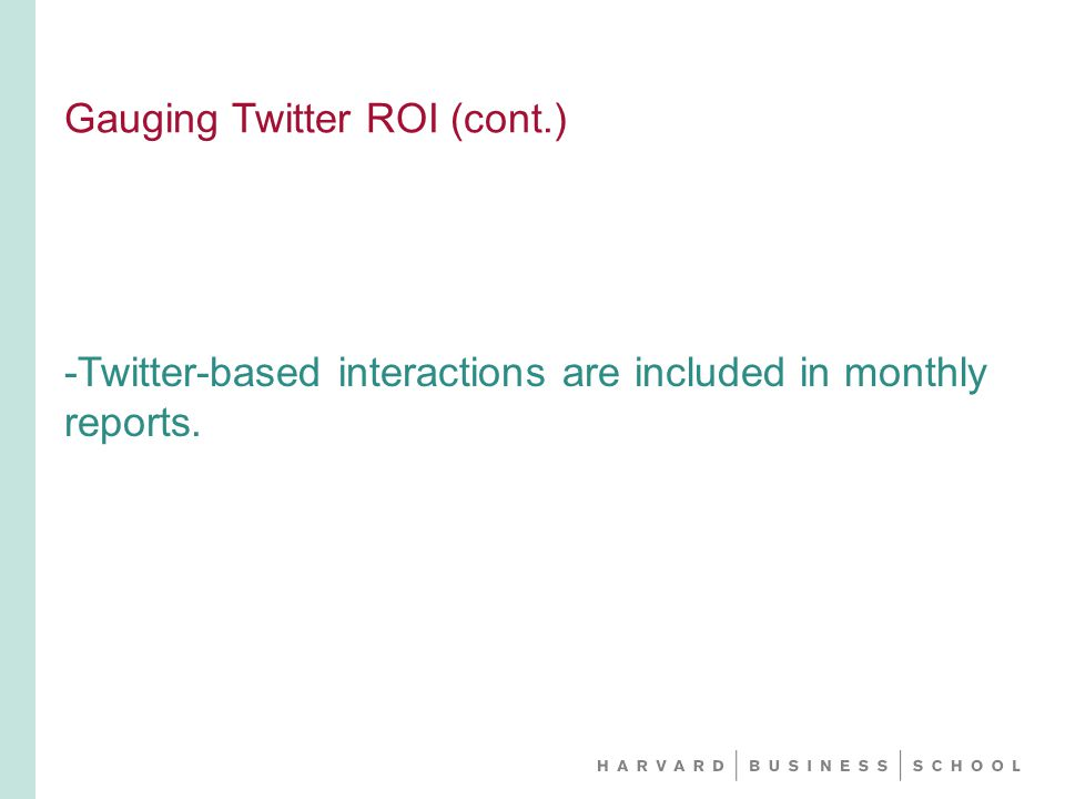 Gauging Twitter ROI (cont.) -Twitter-based interactions are included in monthly reports.