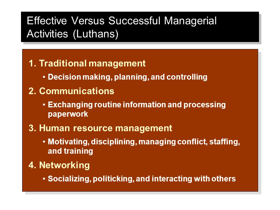 Effective Versus Successful Managerial Activities (Luthans) 1.Traditional management Decision making, planning, and controlling 2.Communications Exchanging routine information and processing paperwork 3.Human resource management Motivating, disciplining, managing conflict, staffing, and training 4.Networking Socializing, politicking, and interacting with others 1.Traditional management Decision making, planning, and controlling 2.Communications Exchanging routine information and processing paperwork 3.Human resource management Motivating, disciplining, managing conflict, staffing, and training 4.Networking Socializing, politicking, and interacting with others