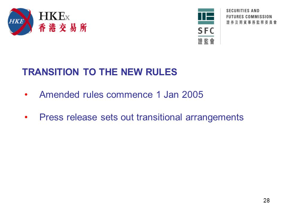 28 Amended rules commence 1 Jan 2005 TRANSITION TO THE NEW RULES Press release sets out transitional arrangements