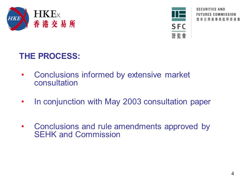 4 Conclusions informed by extensive market consultation THE PROCESS: In conjunction with May 2003 consultation paper Conclusions and rule amendments approved by SEHK and Commission