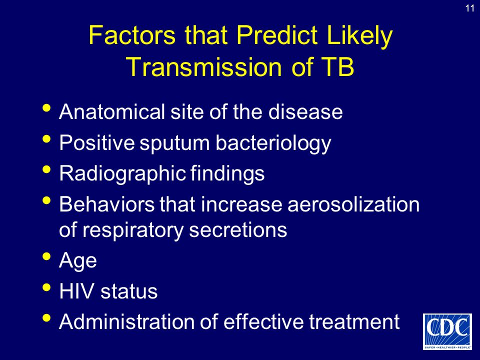 11 Factors that Predict Likely Transmission of TB Anatomical site of the disease Positive sputum bacteriology Radiographic findings Behaviors that inc