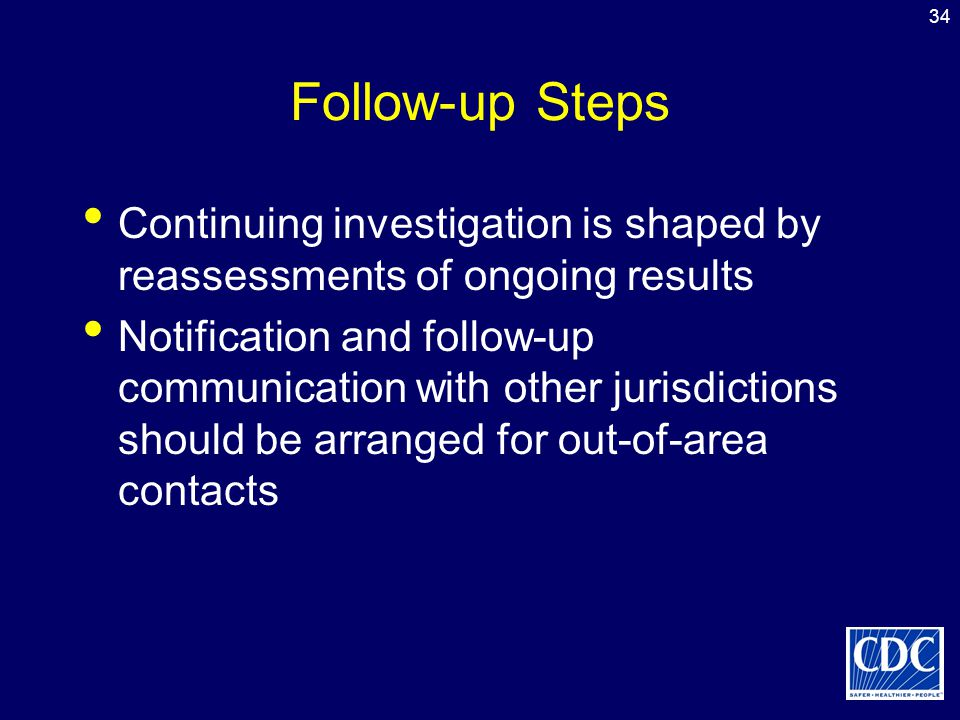 34 Follow-up Steps Continuing investigation is shaped by reassessments of ongoing results Notification and follow-up communication with other jurisdic