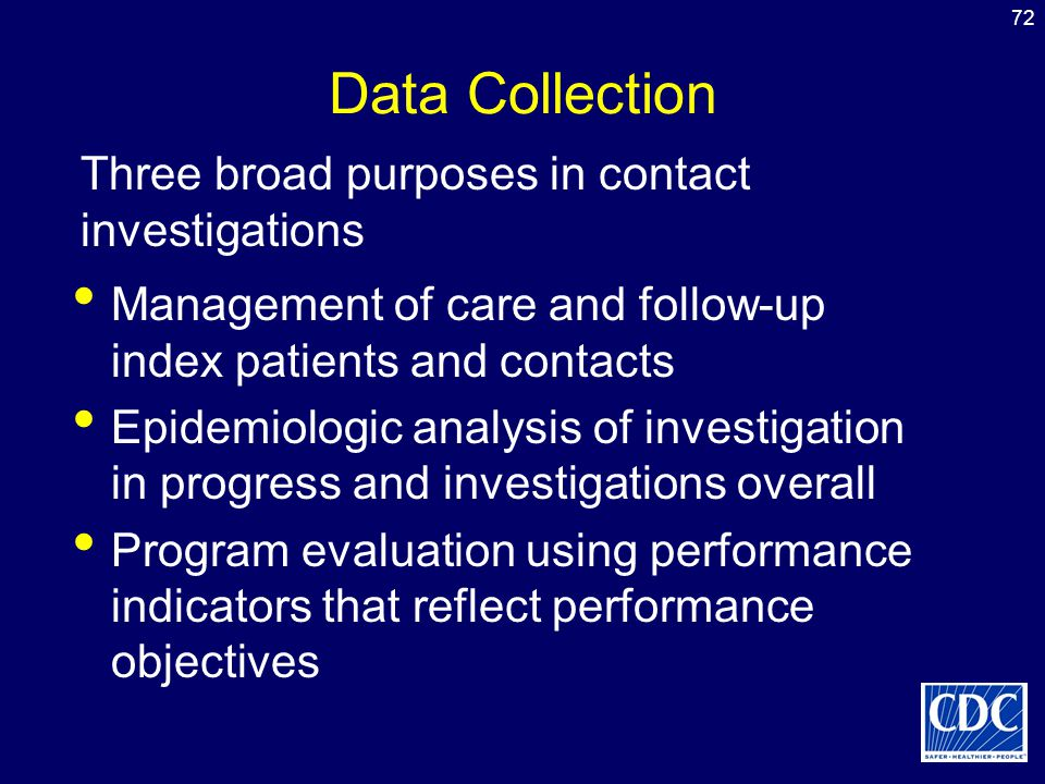 72 Data Collection Management of care and follow-up index patients and contacts Epidemiologic analysis of investigation in progress and investigations